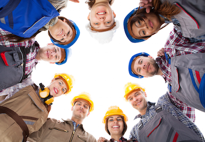 991 Recruit Construction Workers Team Huddle